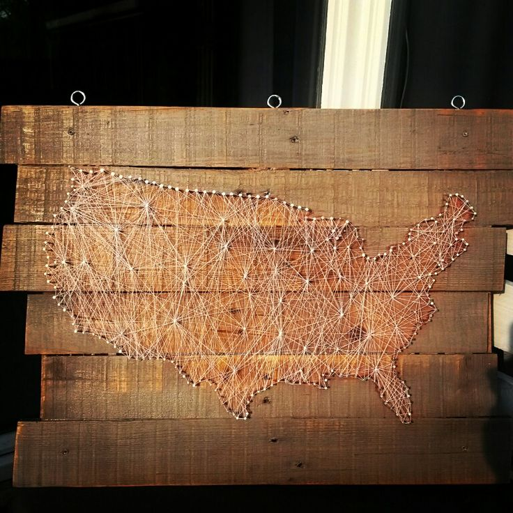 String art of America on palletwood.  diy string art wood pallet