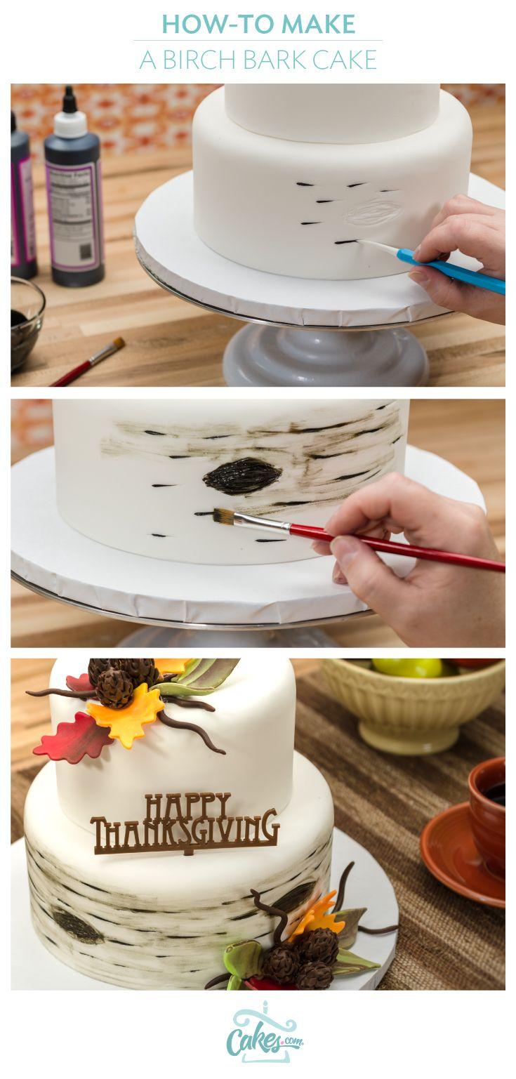 Paint a birch bark cake for Thanksgiving.