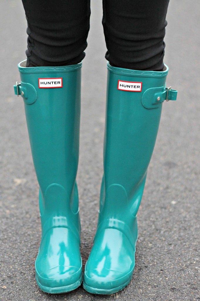 mint Hunter rain boots