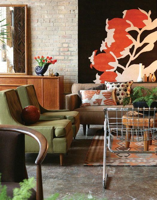 rug hung on the wall: Interior Design, Ideas, Living Rooms, Brick Wall, Livingroom, Green Chairs, Brown Color, Space