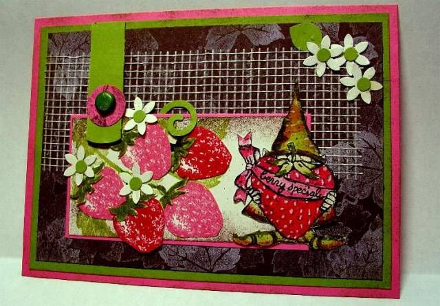 SC106 Strawberry Gnome by Zindorf - Cards and Paper Crafts at Splitcoaststampers