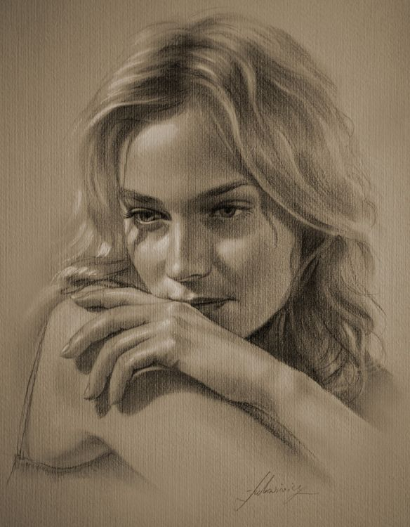 Photos - Actresses, Blondes, Brown, Celebrities, Diane Kruger, Drawings and Paintings, Girls and Women, People, Portraits