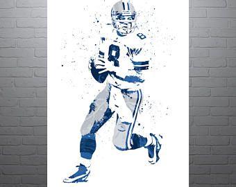 Troy Aikman Dallas Cowboys Sports Art Print, Football Poster, Kids Decor, Watercolor Contemporary Abstract Drawing Print, Modern Art