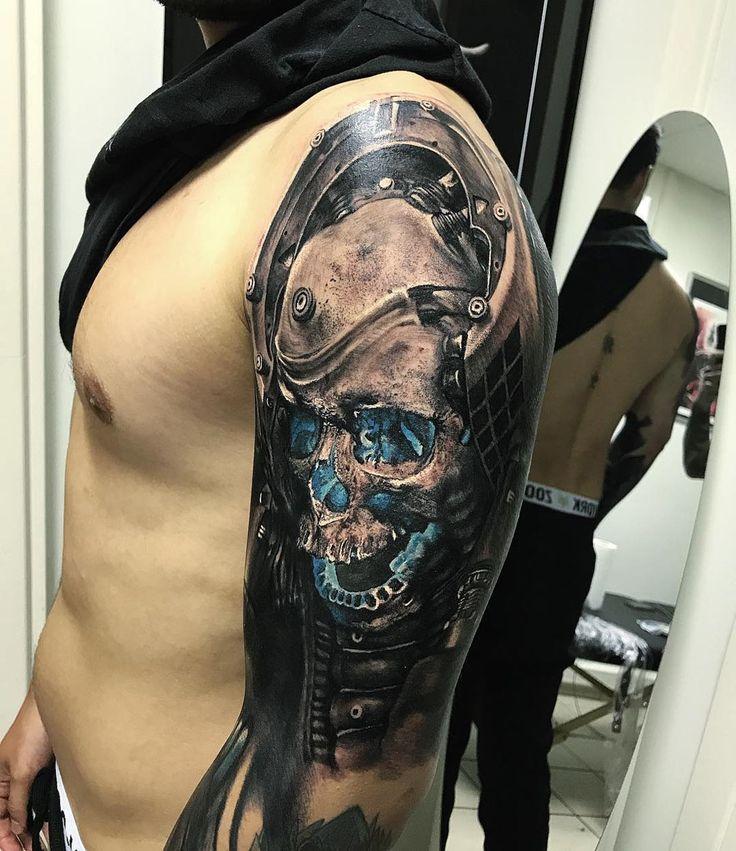 Futuristic Skull Fake tattoo sleeves, Skull tattoos, Tattoos