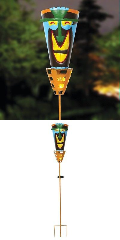 Garden and Patio Torches 183391: Outdoor Tiki Torches - Solar Powered Led Light -Metal Yard Art - Big Happy Smile -> BUY IT NOW ONLY: $44.94 on eBay!