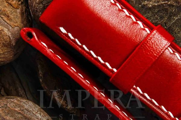 Panerai Red Leather Watch Strap,https://www.imperastraps.com