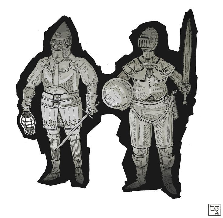 Dylan Rohn draws things. Like city watchmen on the lookout for miscreants. #inktober #medieval #armor #illustration