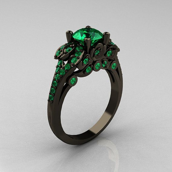 Classic 14K Black Gold 1.0 CT Emerald Blazer Ring