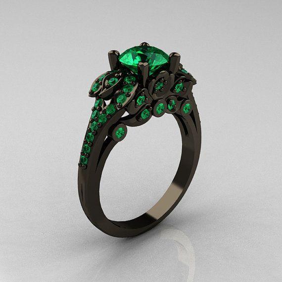 Classic 14K Black Gold 1.0 CT Emerald Blazer Wedding Ring