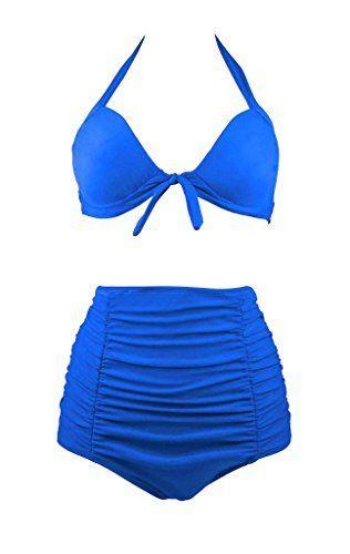 Wantdo Womens Retro Ruched High Waist Halter Solid Bikini Swimsuit  Wantdo Womens Retro Ruched High Waist Halter Solid Bikini Swimsuit  Expires Jul 27 2017