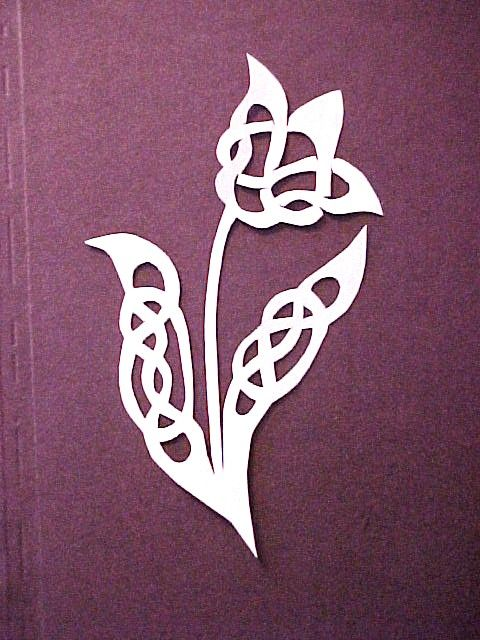 Celtic Tulip paper cutting, done by Susan S. Hahn