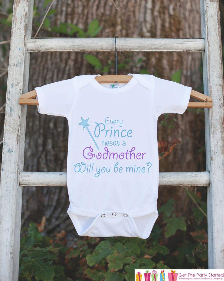 Will You Be My Godmother Outfit - Infant Baby Boy Bodysuit - Every Prince Needs a Godmother Onepiece - Godchild & Godparent Keepsake