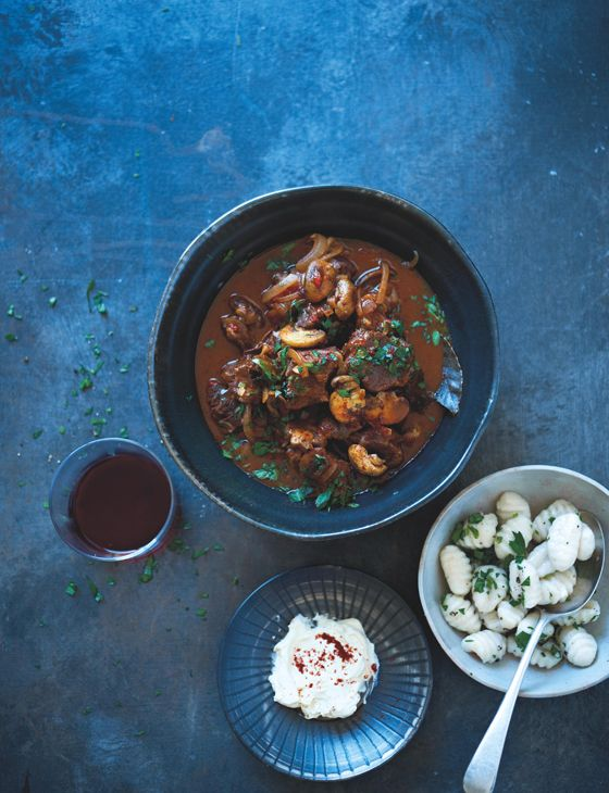Beef goulash with gnocchi and soured cream. A tender and comforting one pot, serves 4.