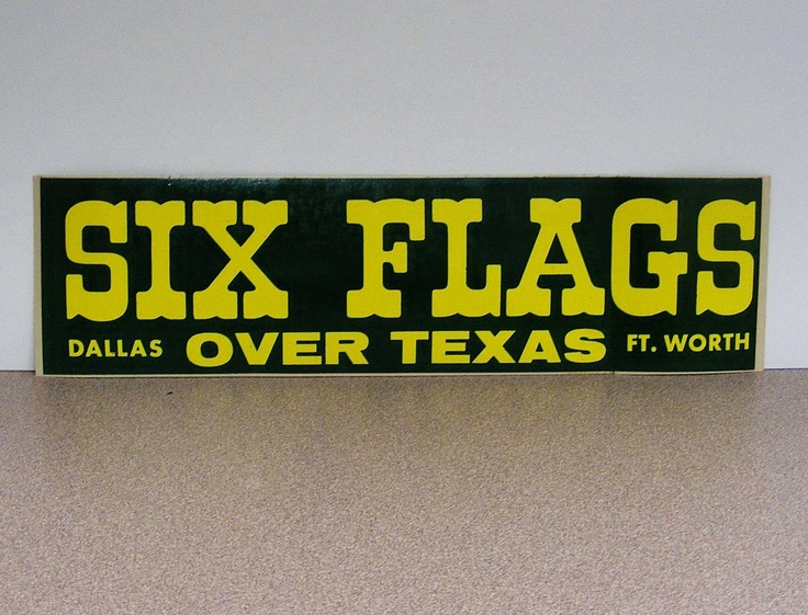 Six flags over texas vintage bumper sticker