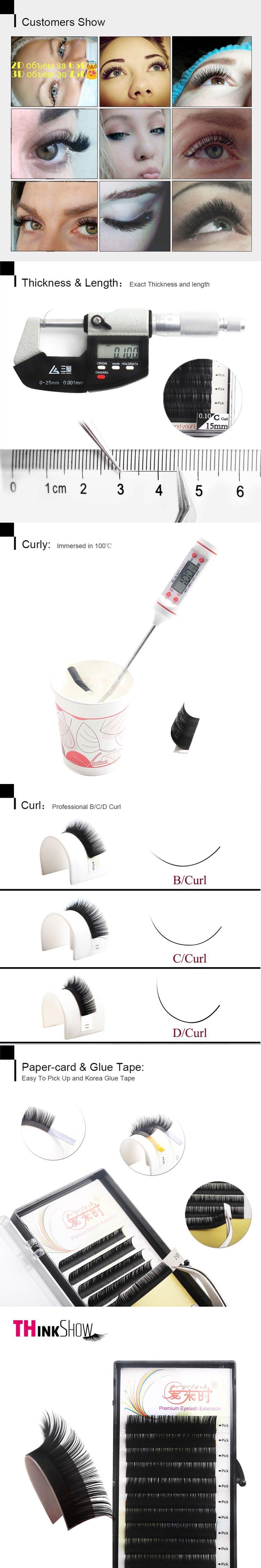 Thinkshow 3D Russia Volume Individual Eyelash Extension Natural Long Thick Eyelashes Silk Korean Eye Lash Extension Lash 3D