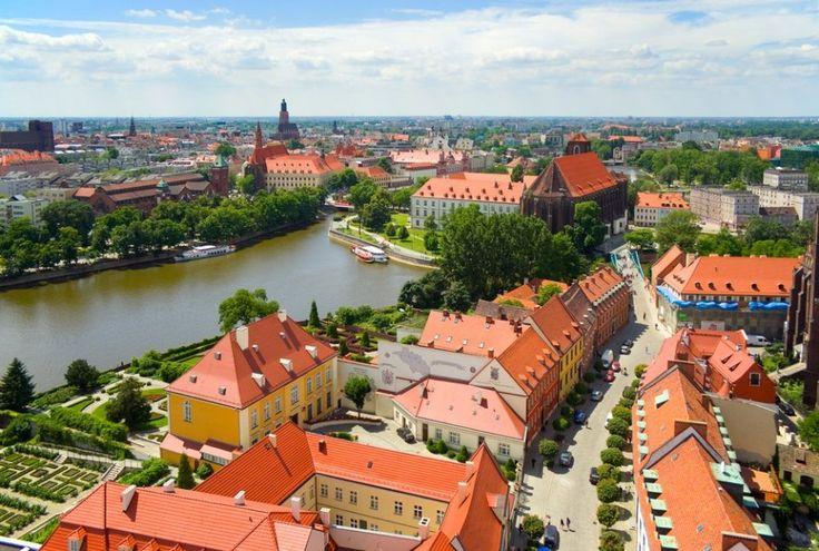 Вид с панорамной площадки на башне Кафедрального собора, Тумский остров, Вроцлав, Польша