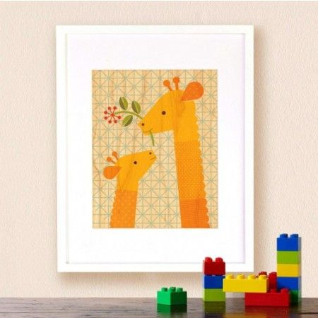Petit Collage Giraffe Baby - Print on Wood - fawn&forest