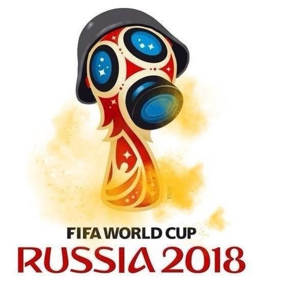 Śmieszne fotki w piłce nożnej • Logo mundialu w masce przeciwgazowej • Mundial w Rosji 2018 • Śmieszne memy logo mistrzostw świata >>