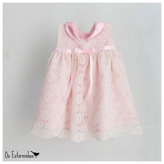 Baby Girl lace Dress Girls Ivory white Lace Dress pink