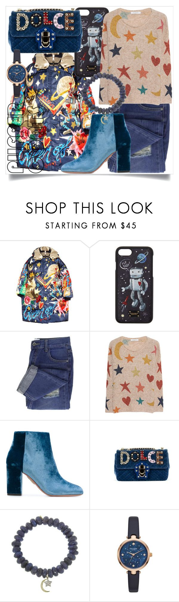 """""""Moon and stars"""" by subvilli ❤ liked on Polyvore featuring Dolce&Gabbana, Frogbox, Aquazzura, Sydney Evan and Kate Spade"""