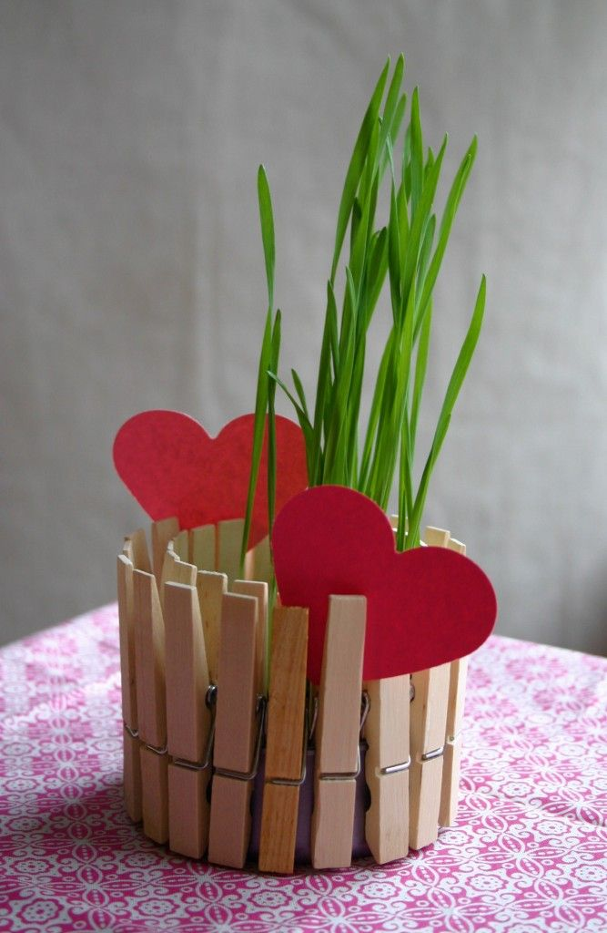 a tuna can, some clothespins, a little creative personalized creative art . . . a plant holder or a candle light holder (requires a candle light or battery candle light)