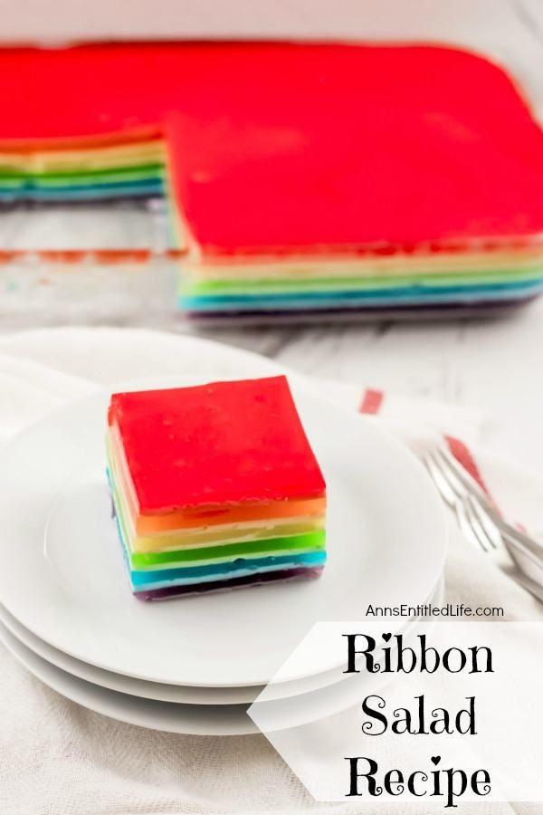 Ribbon Salad Recipe This Jello Ribbon Salad Will Take You Back A Few Yea In 2020 Ribbon Jello Recipe With Sour Cream Jello With Sour Cream Recipe Layered Jello Recipe