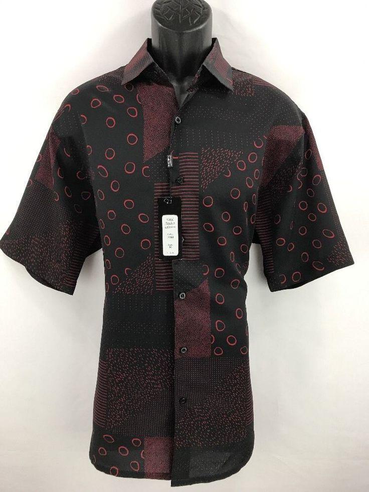 Bassiri Men's Short Sleeve Shirt Black & Red Microfiber Sizes M - 4XL New #3910 #Bassiri #ButtonFront