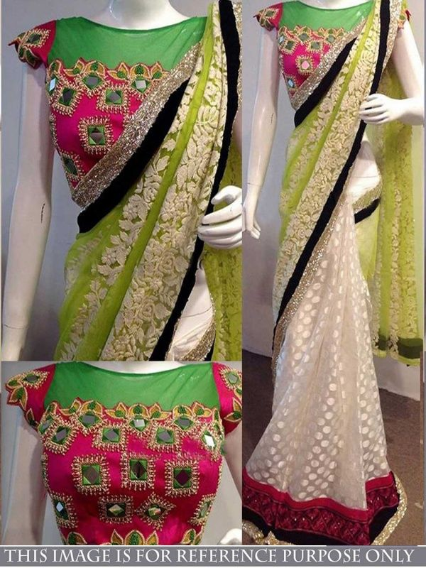 Boozy Green Naylon Net Designer Saree comes with Pink Color Banglori Silk Blouse.It contained the work of Thread fancy with Lace border.The Blouse which can be customized up to bust size 40