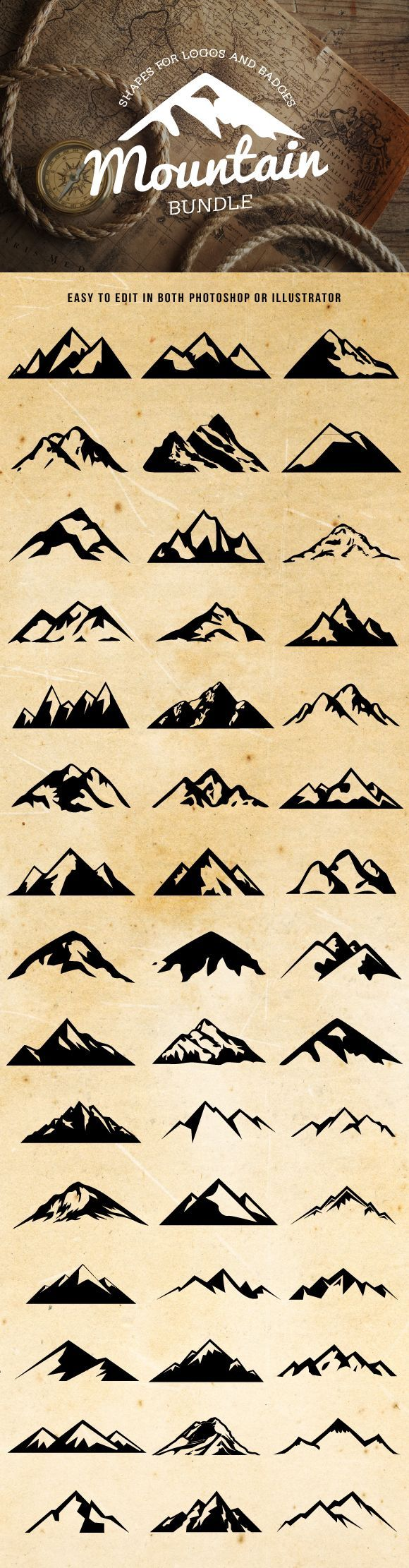 Check out Mountain Shapes For Logos Bundle by lovepower on Creative Market https://creativemarket.com/lovepower/162705-Mountain-Shapes-For-Logos-Bundle?u=lovepower #mountains #design
