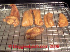 Instructions on how to make Pig Ear treats for your dog at home! Super easy!