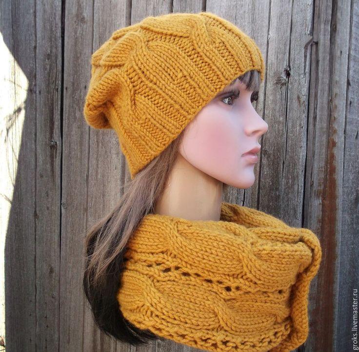 Купить Горчичный комплект - шапка и снуд (оранжевый) - оранжевый, оранжевый цвет, оранжевый шарф