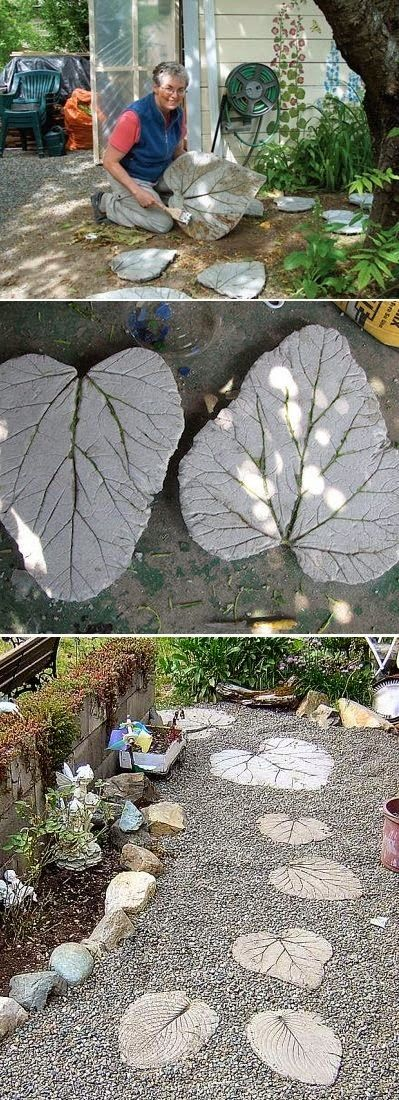 Rhubarb leaf stepping stones                                                                                                                                                                                 Mais
