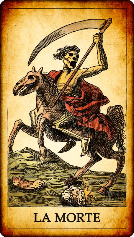 The Death. N. 13. We find the well- known image of the skeleton armed with a scythe. The Death is the thirteen tarot. The number thirteen is usually the bearer of doom, but there are cultures in which it is a good omen. Death is seen fair and equitable, since it affects everyone without distinction of social class and wealth. A so scary figure does not mean misfortune, in fact its meaning is changing, the closing of a cycle and subsequent renewal. Reversed card: bad epilogue of a situation.