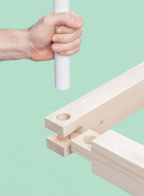 PVC or metal pipe to lock mortise and tenon joint. Do this on both ends, create…