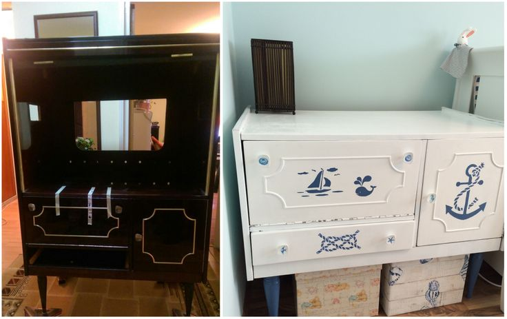 changing table, diy, nursery, before and after, paint, nautical