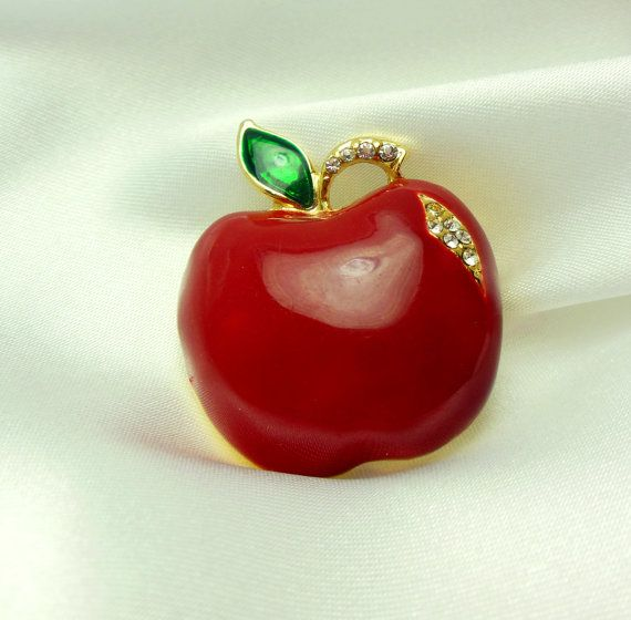 Rhinestone Apple Brooch by VJSEJewelsofhope on Etsy, $8.00Back To School