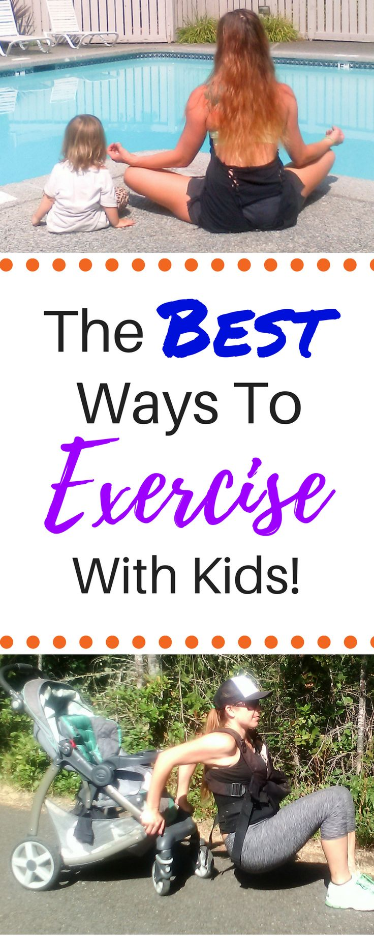How to exercise with kids 101! This gives you TONS of ideas on how to exercise with baby and how to exercise with kids. You will learn how to do stroller workouts and workout with baby in a carrier. You can complete all these activities at home with toddlers and older children too! These fitness workouts are the best healthy ways for mom to get in strength training, weight loss, and post pregnancy workouts for you and for kids!