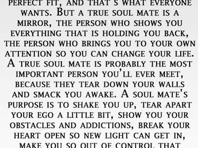A soulmates purpose is to shake you up