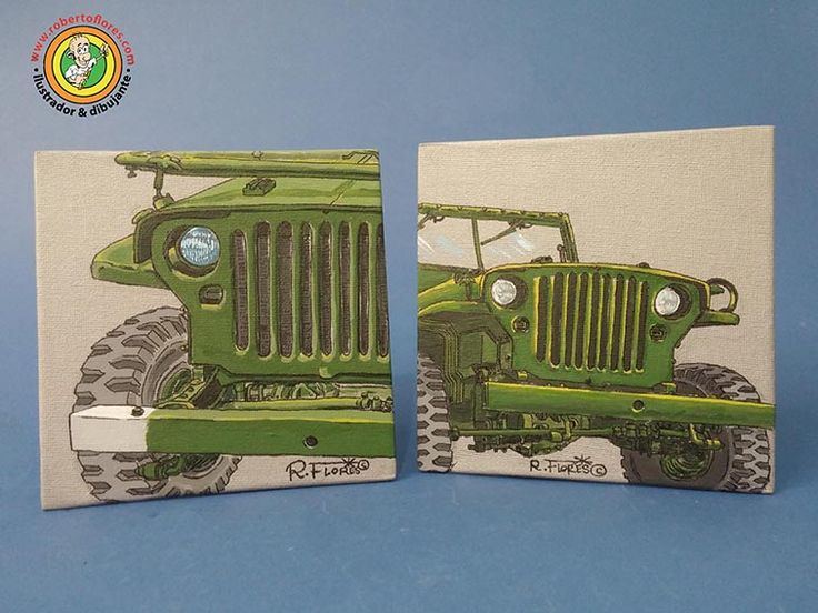 New pair of mini #canvas #paintings devoted to the #WW2 #US made #Willysjeep MB model mini canvas (15 cms. width x 15 cms. height). It´s a #jeep thing!