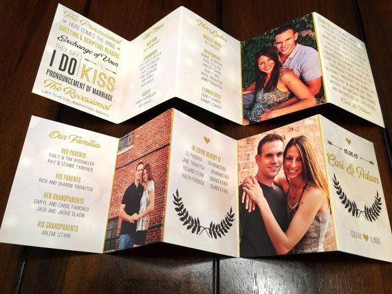 Mini Accordion Fold Wedding Programs by TheDesignBrewery on Etsy