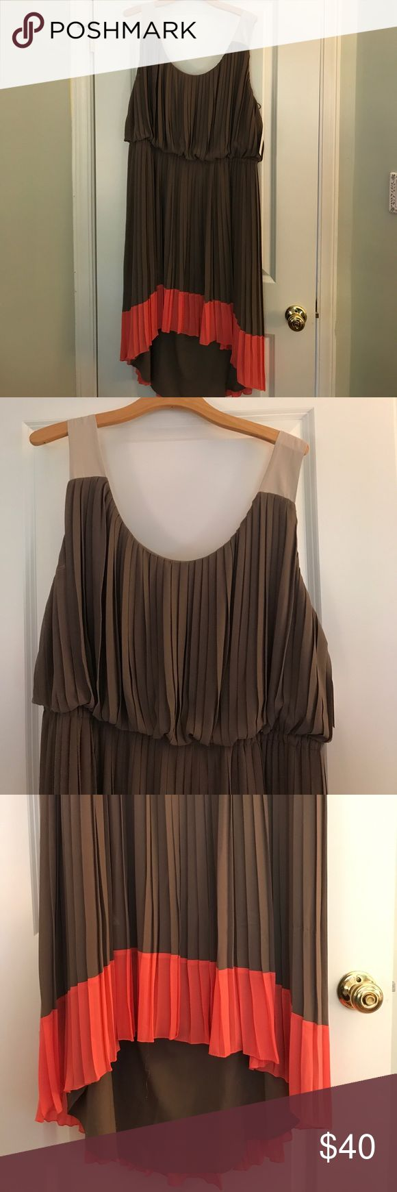 Jessie Simpson plus size high/low dress Jessica Simpson dress never worn, tags still on. Brown body and bright pink around the bottom. Size 18, stretchy waist. Jessica Simpson Dresses High Low