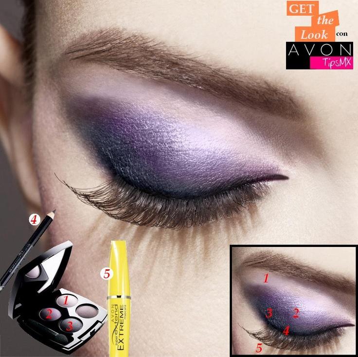 Luce una mirada en morados impactantes con el Cuarteto de Avon Color en tono Purple Haze y logra unas pestañas de ensueño con Super Extend Extreme Mascara.