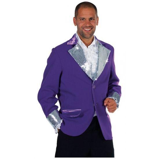 Glitter colbert voor heren in de kleur paars met zilveren pailletten. Deze luxe glitter colbert is van zeer hoge kwaliteit. De paarse glitter jas met zilveren pailletten is verkrijgbaar in diverse maten.