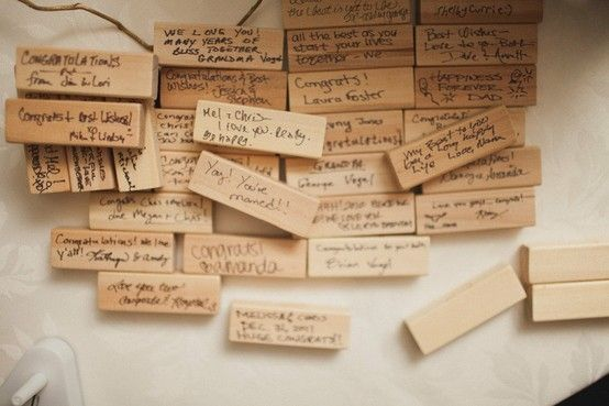 This bride used pieces of a Jenga game, for guests to sign