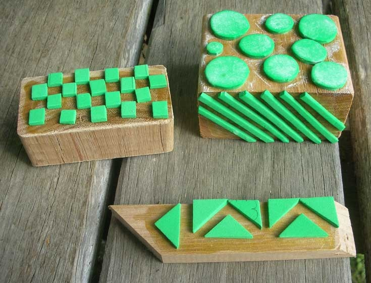 amke your own pattern stamps - some craft foam, waterproof glue and wood for the back.