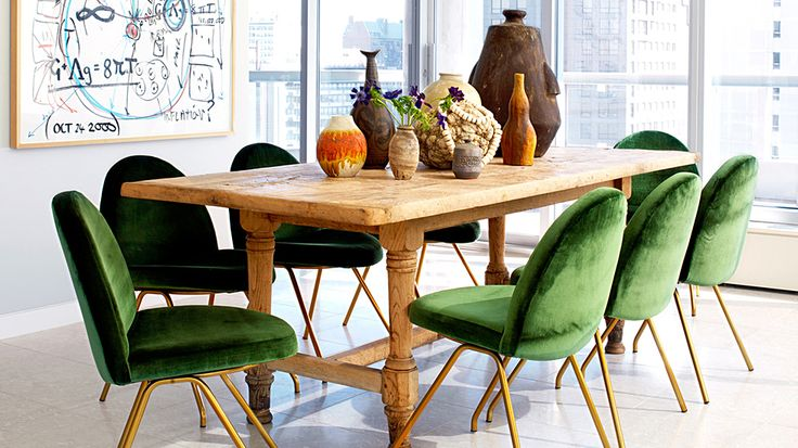 From Domaine - Love the combo of the green velvet chairs with the farm dining table and assorted earthen ware pots and vases. MIX has tables and accessories just like this! Easy to re-create!