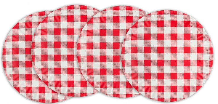 GINGHAM MELAMINE DINNER PLATES - Made to look like paper but completely washable and reusable! Great for the environment! Head out for a picnic perfect day with this set of four melamine plates. They feature a picnic tablecloth pattern in red and white. Perfect for an outdoor celebration or everyday use, this four pack of pretties will bring some retro fun to your day!