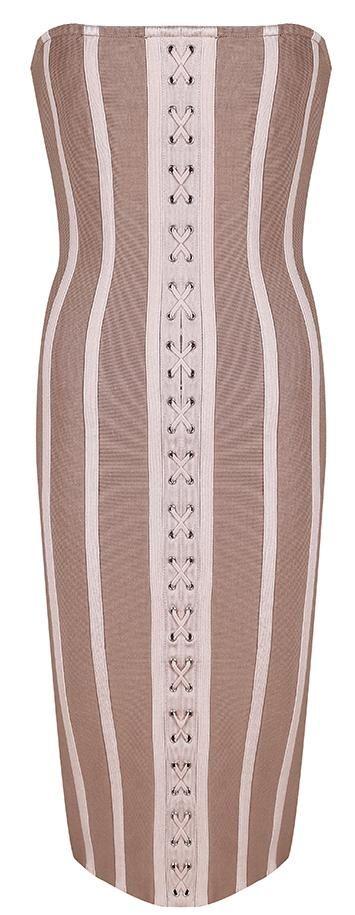 Strapless Lace-up Knee-Length Bandage Dress