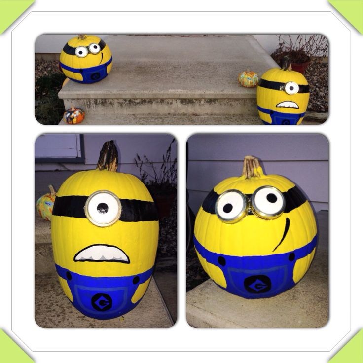 halloween pumpkins painted like minions from the disney movie despicable me minions halloweenpumpkins