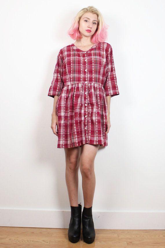 Vintage 90s Dress Burgundy Embroidered Plaid Mini Dress Soft Grunge Dress Babydoll Dress 1990s Dress Flannel Shirt Style Dress M Medium L #1990s #90s #etsy #vintage #plaid #babydoll #mini #soft #grunge #softgrunge #dress